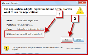 """Hiện thông báo """"The application's digital signature cannot be verified. Do you want to run the application"""""""