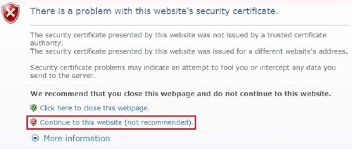 """Thông báo lỗi """"There is a problem with this website's security certificate"""""""