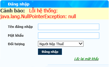 Cảnh báo: Lỗi hệ thống: java.lang.NullPointerException: null