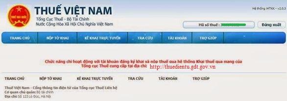 Chức năng chỉ hoạt động với tài khoản đăng ký khai và nộp thuế qua mạng