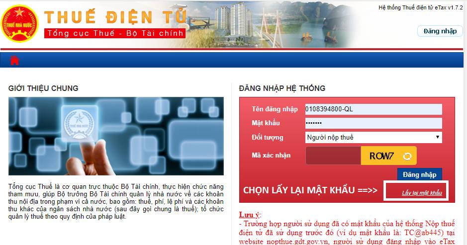 Lấy lại mật khẩu trang thuế điện tử (etax)