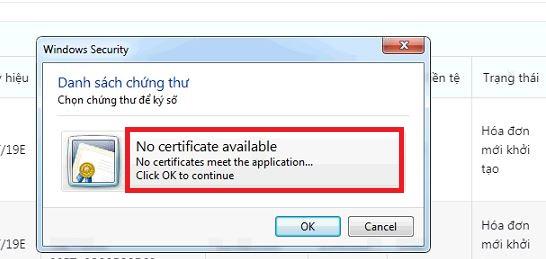Hệ thống load token ký số nhưng không thấy chữ ký số nào!