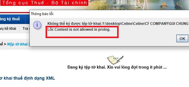 Content is not allowed in prolog: Lỗi khi nộp tờ khai xml và cách khắc phục