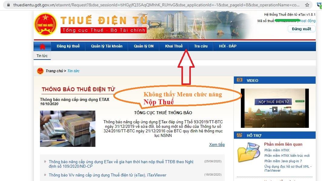 """Tài khoản thuedientu.gdt.gov.vn Không thấy menu """"nộp thuế"""""""