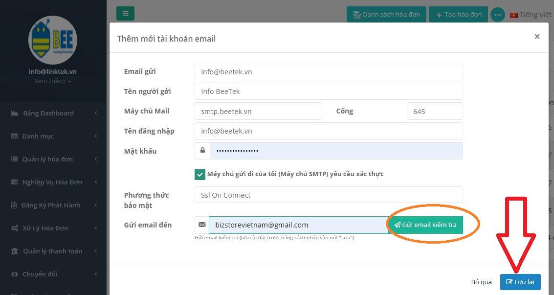 Hóa đơn điện tử - Cấu hình tài khoản Email