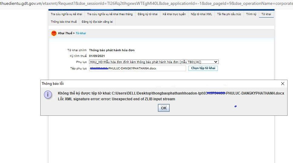 Cập nhật cách khắc phục các lỗi khó chịu khi nộp tờ khai xml: XML signature error: error:  Unexpected and of ZLIB input stream