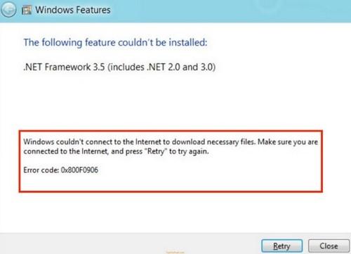 Tình huống thường gặp: Tình huống số 3 - Hiển thị thông báo: Windows couldn't connect to the internet to download necessary files....