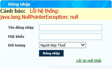 Cảnh báo: Lỗi hệ thống: java.lang.NullPointerException: null