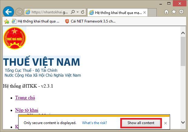 Thông báo như hình dưới: only secure content is displayed