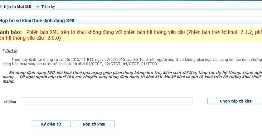 Phiên bản XML trên tờ khai không đúng với phiên bản hệ thống yêu cầu