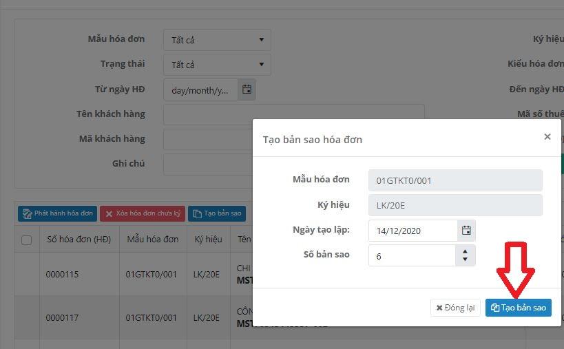 Tạo bản sao hóa đơn: Một trong những tính năng rất hay của hóa đơn điện tử eHoaDon Online