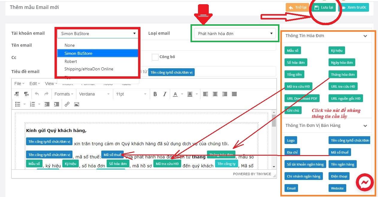 Cấu hình tài khoản Email và Tạo nội dung email mẫu trên hệ thống eHoaDon Online