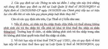 Kê khai thuế TNCN và điều cần lưu ý