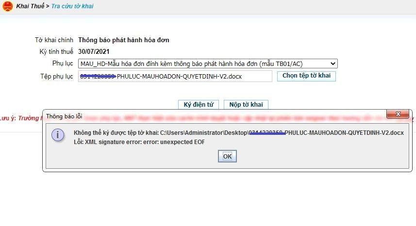 Cập nhật cách khắc phục các lỗi khó chịu khi nộp tờ khai xml: XML signature error: error: unexpected EOF, error: invalid entry CRC