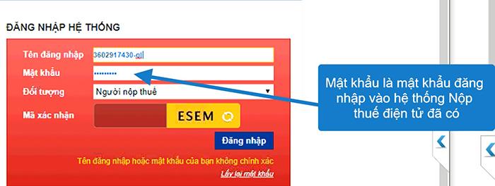 Người nộp thuế đăng nhập vào hệ thống báo sai mật khẩu