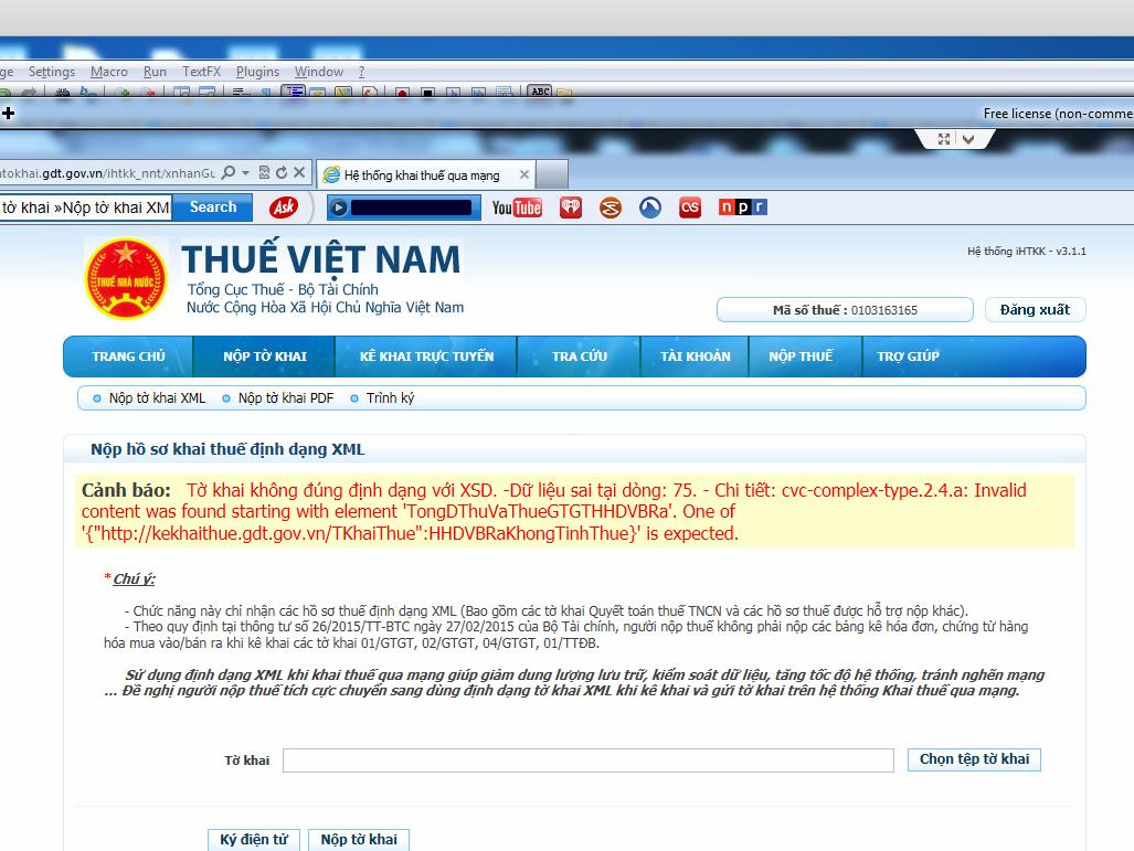 """Lỗi """"Tờ khai không đúng định dạng với XSD"""" khi nộp tờ khai thuế qua mạng"""